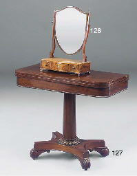 A William IV mahogany card tab