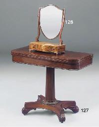A mahogany and inlaid toilet m