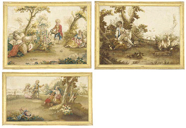Three framed Aubusson style ta