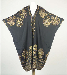 A tunic of black silk crêpe, s