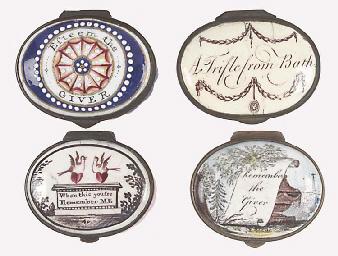Five various enamel patch boxe