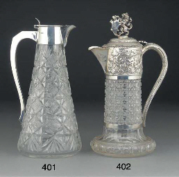 A SILVER MOUNTED CUT-GLASS CLA