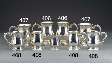 TWO PAIRS OF SMALL SILVER MUGS