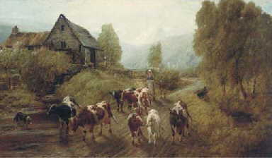 Cattle fording a mill stream