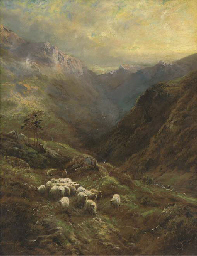 A shepherd with his flock in a