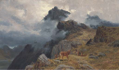 A stag and hines in a Highland