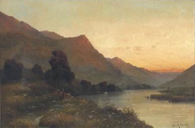 A loch landscape at dusk