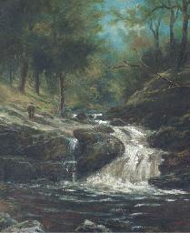 A waterfall in a wooded landsc