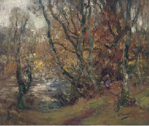 A figure in a wooded river lan