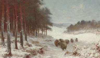 Sheep in a snowy landscape