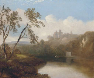 A castle in a river landscape
