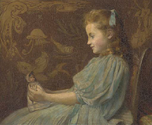 Portrait of a girl, seated hal