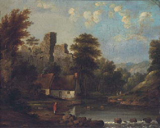 Figures by a riverside cottage