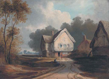 Figures before cottages, tradi