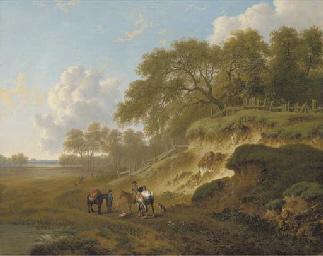Horsemen resting by an escarpm