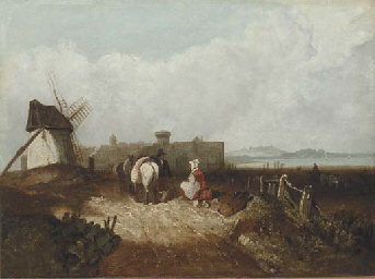 Figures resting by a windmill,