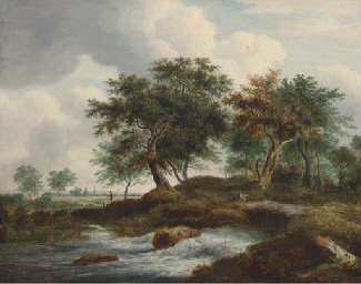 Figures resting by a river in