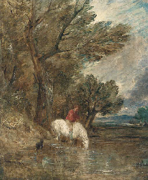 A wooded landscape with a boy