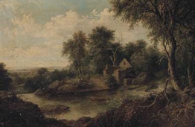 Figures in a river landscape