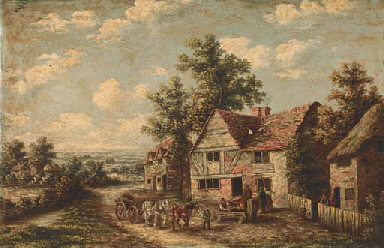 Figures in a village; and In t