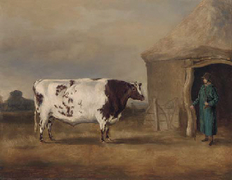 A prize bull before a barn