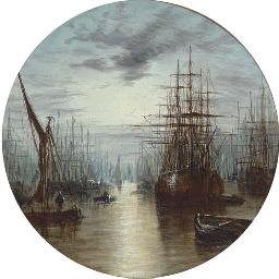 A moonlit harbour
