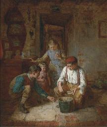 Children in a cottage interior