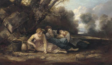 Three girls resting in a lands