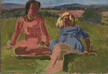 Two seated girls in a meadow