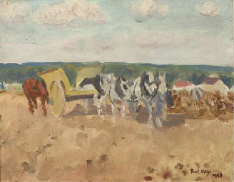 Horses and cart in a field