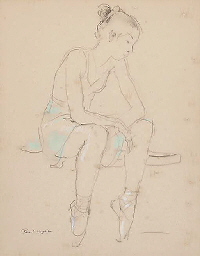 Study of a ballerina resting;