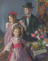 Self-portrait with daughters;