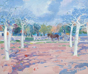 A horse and cart in an orchard