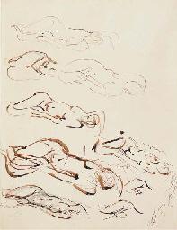 Sheet of nine drawings of recl