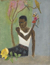 African Boy with Rose, Flowers