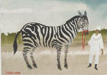 Man and Zebra