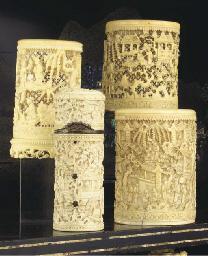(4) Three Chinese Canton ivory
