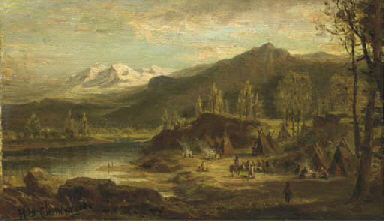 An Indian camp by a river