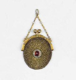 A GOLD, GEM SET AND PEARL PURS