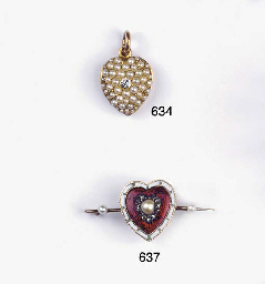 AN ANTIQUE GOLD, DIAMOND AND P