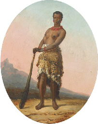 An African warrior woman in le