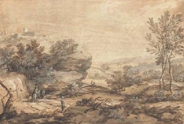 Un paysage avec un rocher au d