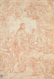 Le Christ entouré par des ange