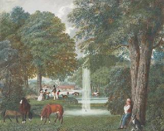 Un parc avec un jet d'eau dans