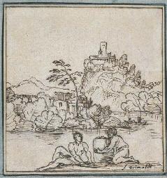 Deux figures au bord d'un fleu