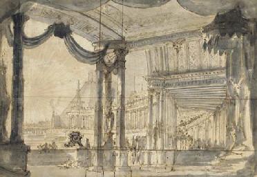 Un mausolée vu d'une colonnade