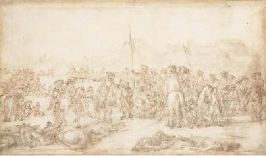 Des soldats ramassant des bles