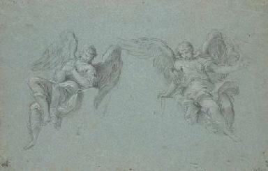 Deux anges assis sur une corni
