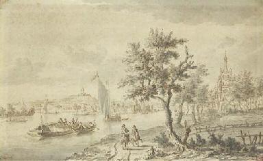 Un paysage fluvial, une église