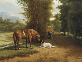 Indonesian landscape with hors